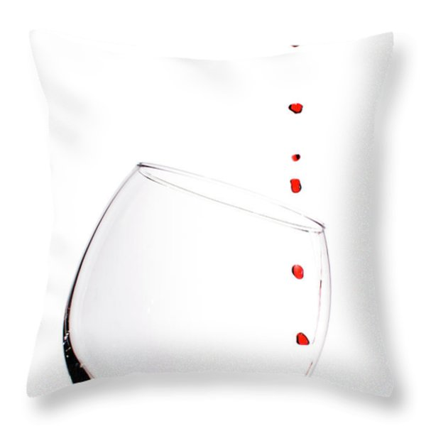 Red Wine Drops into Wineglass Throw Pillow by Dustin K Ryan