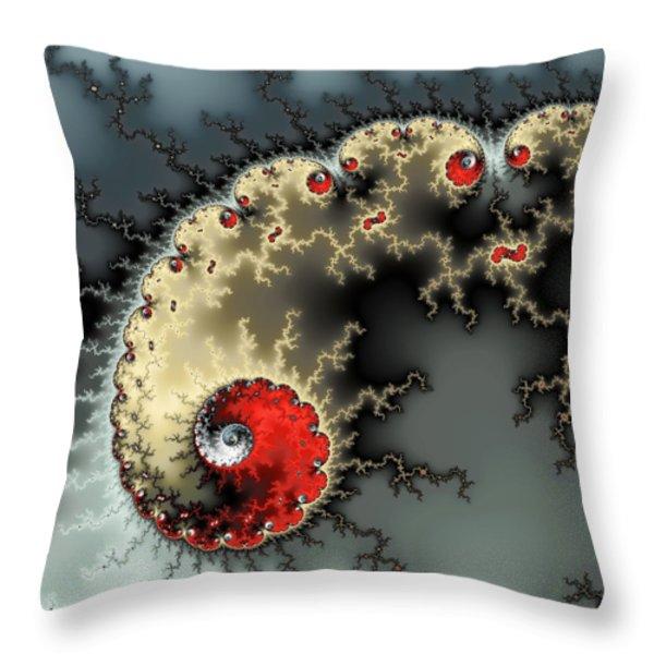 Red Yellow Grey And Black - Amazing Mandelbrot Fractal Throw Pillow by Matthias Hauser