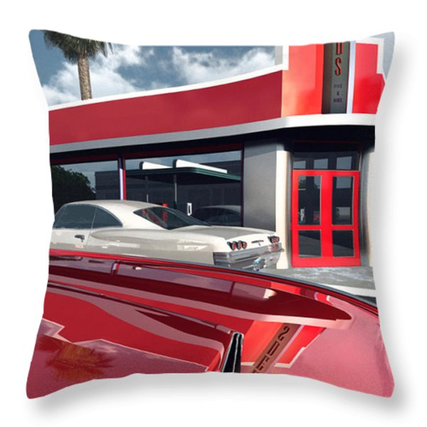 Reds Five And Dime Throw Pillow by Richard Rizzo
