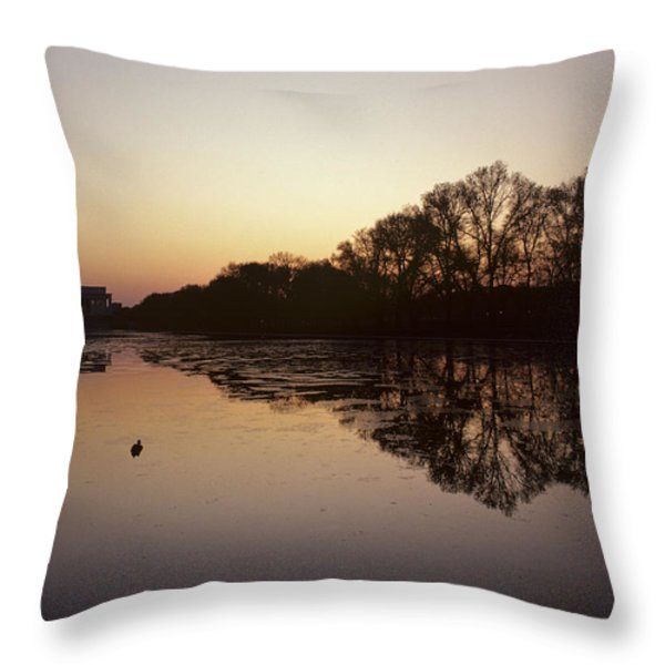 Reflecting Pool And Lincoln Memorial Throw Pillow by Kenneth Garrett
