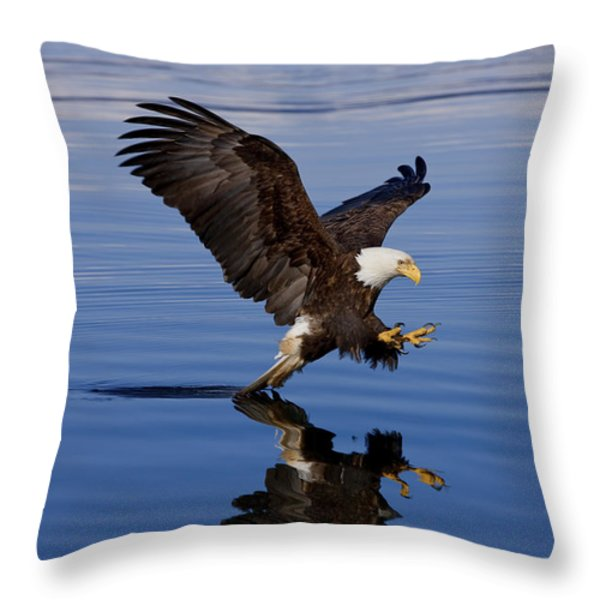 Reflections of Eagle Throw Pillow by John Hyde - Printscapes