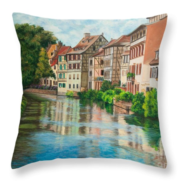 Reflections Of Strasbourg Throw Pillow by Charlotte Blanchard