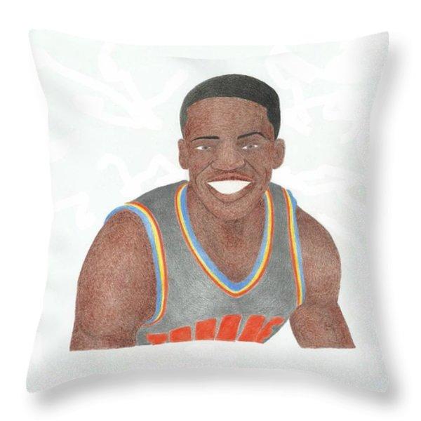 Reggie Jackson Throw Pillow by Toni Jaso