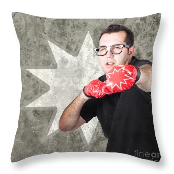 Regular guy exercising. Bootcamp fitness workout Throw Pillow by Ryan Jorgensen