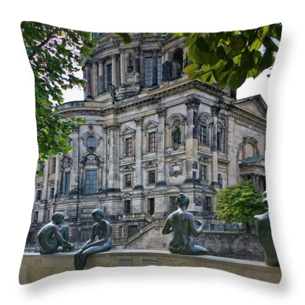 Relaxing by the River Throw Pillow by Joan Carroll
