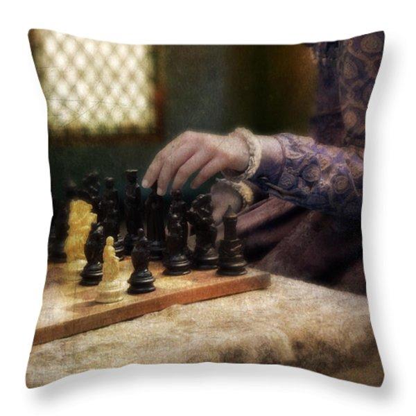 Renaissance Lady Playing Chess Throw Pillow by Jill Battaglia