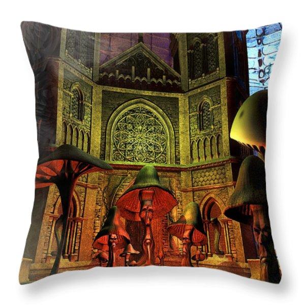 Residence Of The Mushroom Folk Throw Pillow by Jutta Maria Pusl