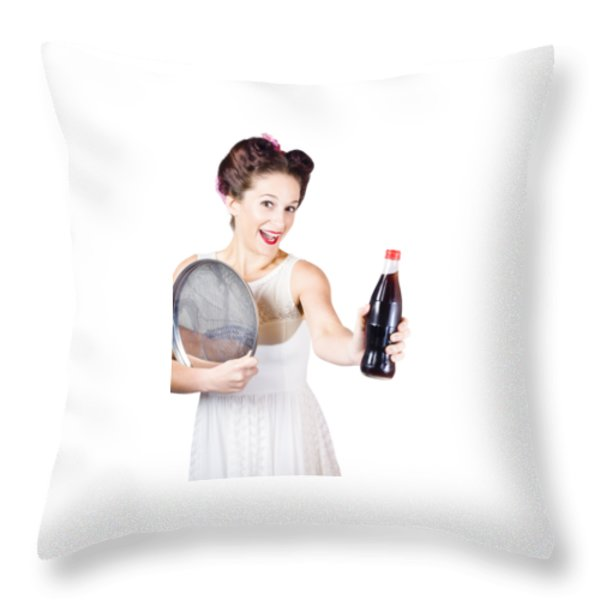 Retro Pin-up Girl Giving Bottle Of Soft Drink Throw Pillow by Jorgo Photography - Wall Art Gallery