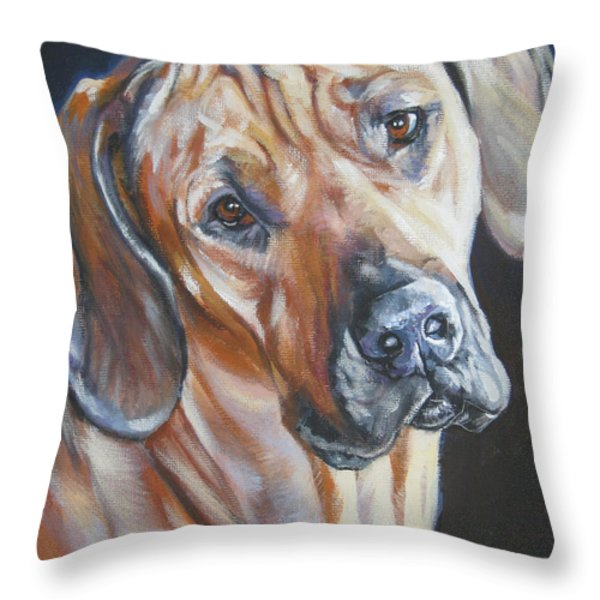 Rhodesian Ridgeback Throw Pillow by Lee Ann Shepard