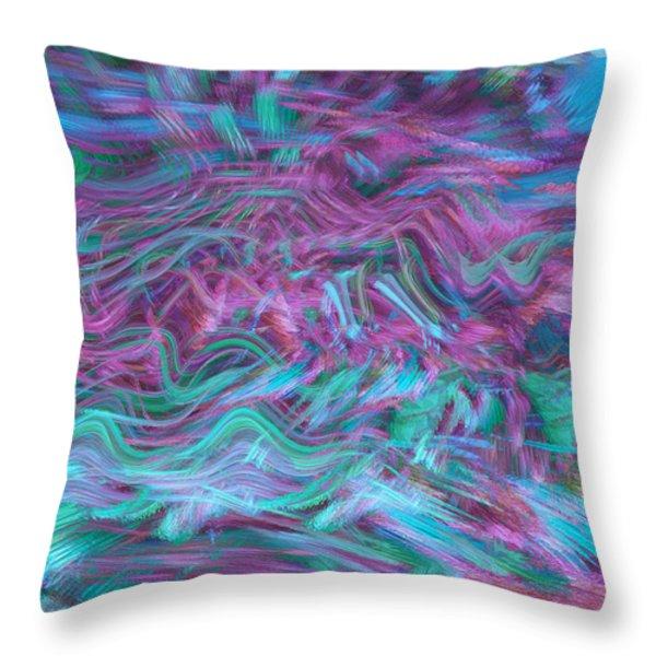 Rhythmic Waves Throw Pillow by Linda Sannuti