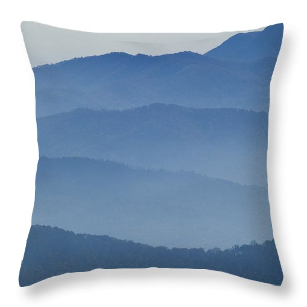 Ridgelines Great Smoky Mountains Throw Pillow by Rich Franco