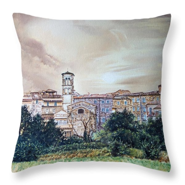Rieti Panoramic Throw Pillow by Michel Angelo Rossi