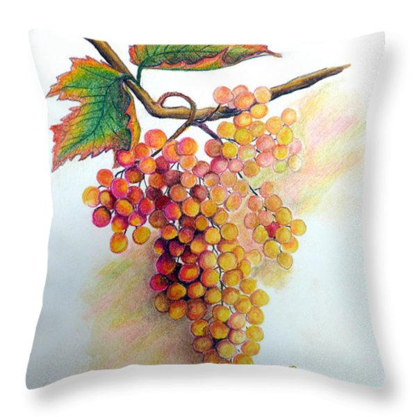 Ripe Muscats Throw Pillow by Karin Kelshall- Best