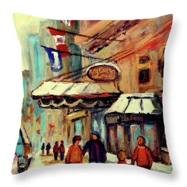 RITZ CARLTON MONTREAL CITYSCENES  Throw Pillow by CAROLE SPANDAU
