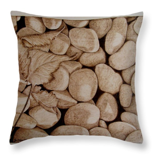 River Bed Throw Pillow by Jo Schwartz