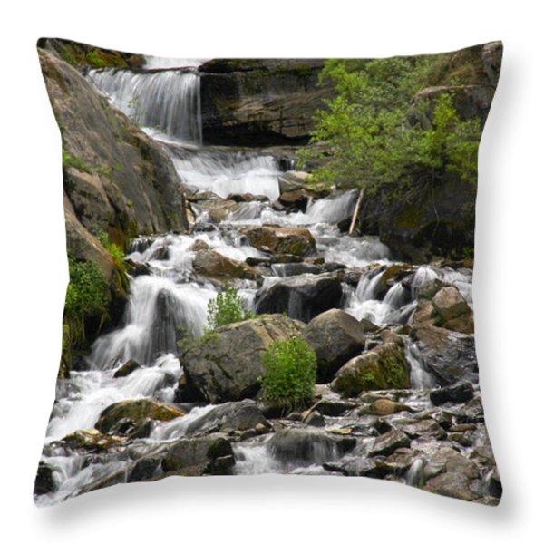 Roadside Mountain Stream Throw Pillow by Mike McGlothlen