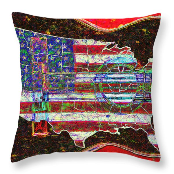 Rock and Roll America 20130123 Red Throw Pillow by Wingsdomain Art and Photography