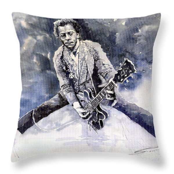 Rock And Roll Music Chuk Berry Throw Pillow by Yuriy  Shevchuk