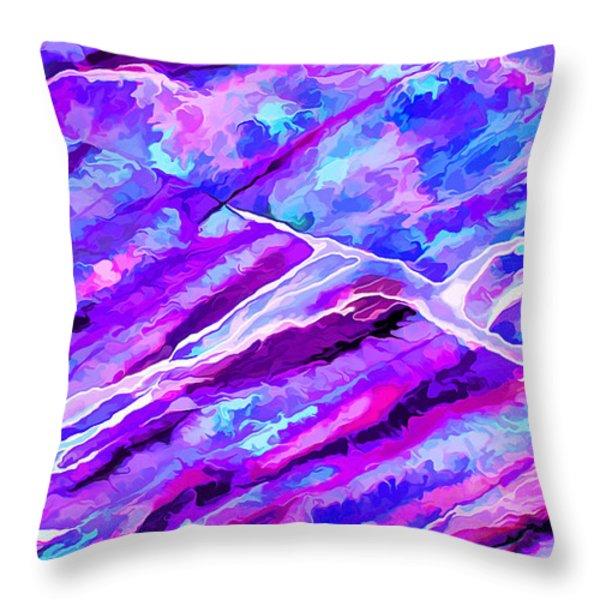 Rock Art 16 In Cyan Blue N Purple Throw Pillow by Bill Caldwell -        ABeautifulSky Photography