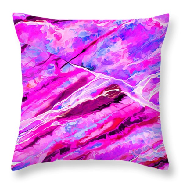 Rock Art 16 In Hot Pink Throw Pillow by Bill Caldwell -        ABeautifulSky Photography