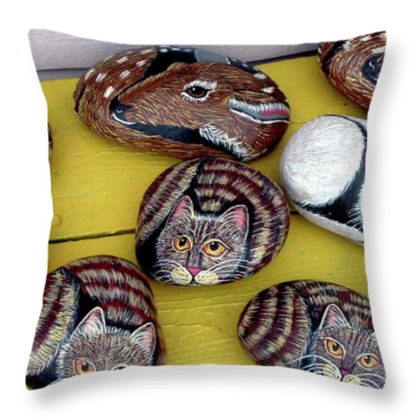 Rock Cats And Fawns Throw Pillow by Barbara Griffin