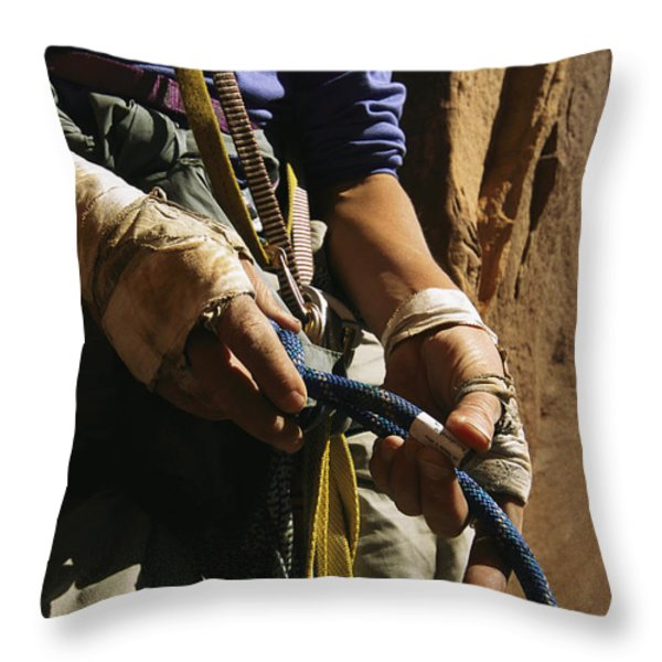 Rock Climber Becky Halls Wrapped Hands Throw Pillow by Bill Hatcher