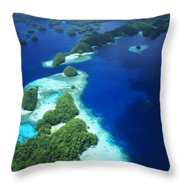 Rock Islands Aerial Throw Pillow by Allan Seiden - Printscapes
