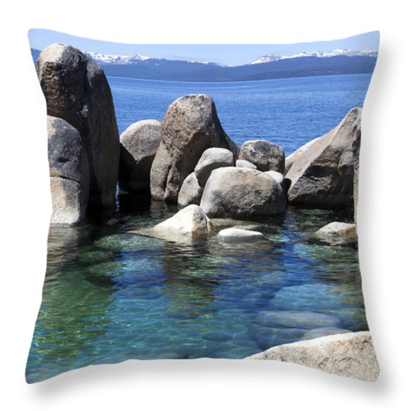 Rocky Shore Throw Pillow by Janet Fikar