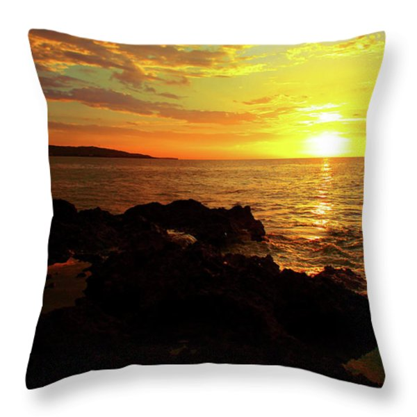 Rocky Shore Throw Pillow by Kamil Swiatek
