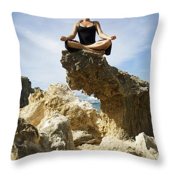 Rocky Yoga Throw Pillow by Kicka Witte - Printscapes