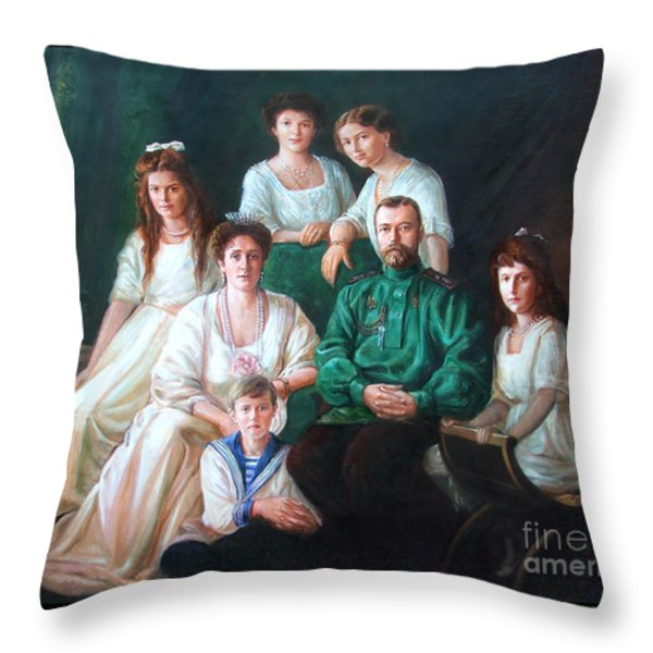 Romanov Family Portrait Throw Pillow by George Alexander