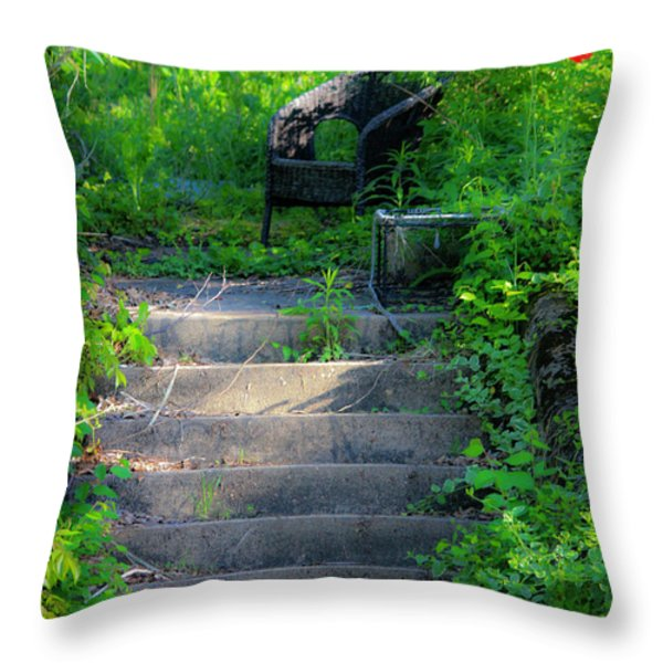 Romantic Garden Scene Throw Pillow by Teresa Mucha