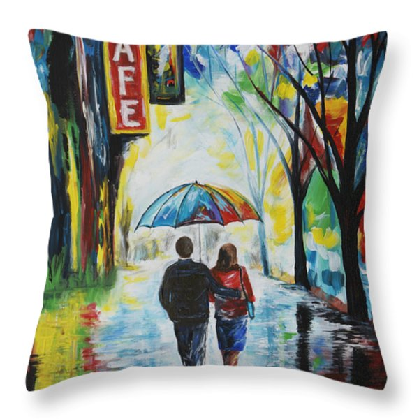 Romantic Night Out Throw Pillow by Leslie Allen