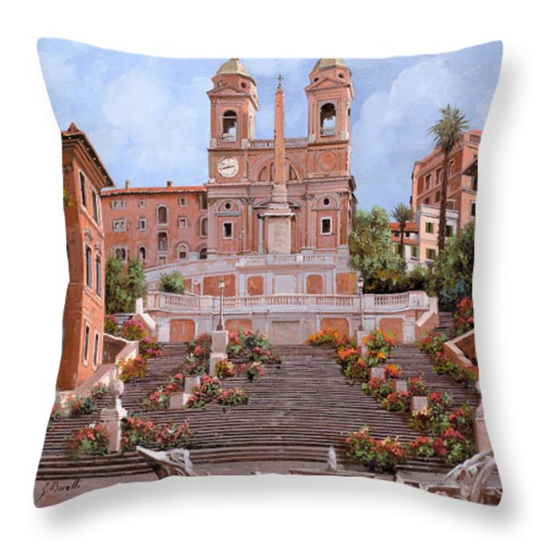 Rome-piazza Di Spagna Throw Pillow by Guido Borelli
