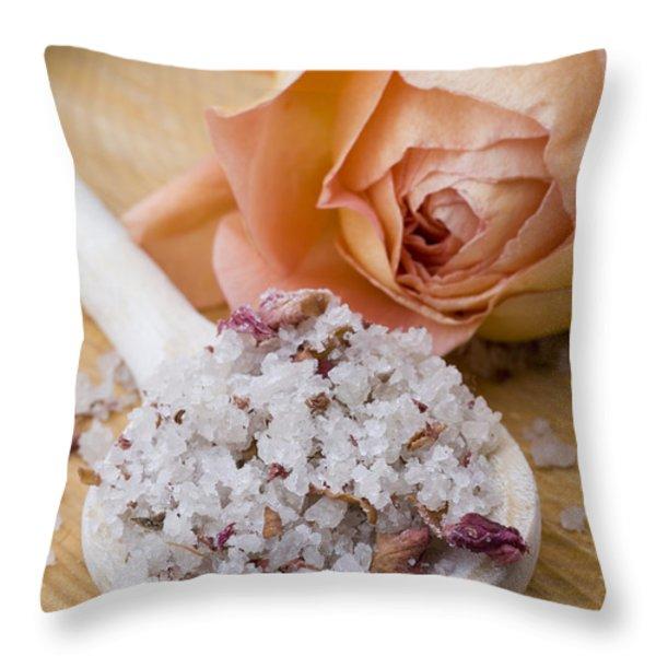 Rose-flavored sea salt Throw Pillow by Frank Tschakert