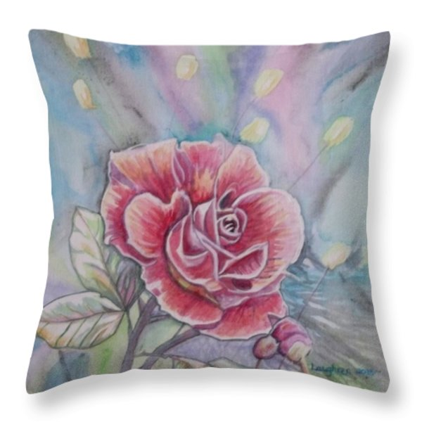 Rose Throw Pillow by Laura Laughren