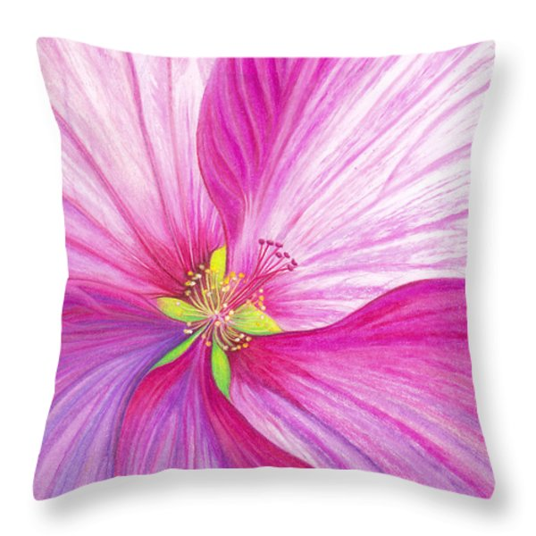 Rose Mallow Throw Pillow by Amy Tyler