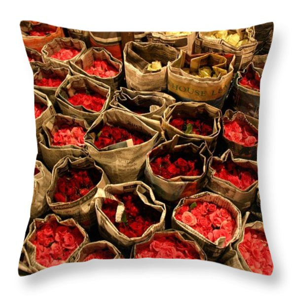 Rose Rolled In Newspaper Throw Pillow by Minaz Jantz