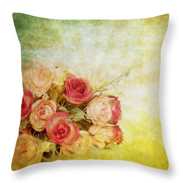 roses pattern retro design Throw Pillow by Setsiri Silapasuwanchai