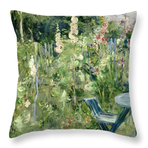 Roses Tremieres Throw Pillow by Berthe Morisot