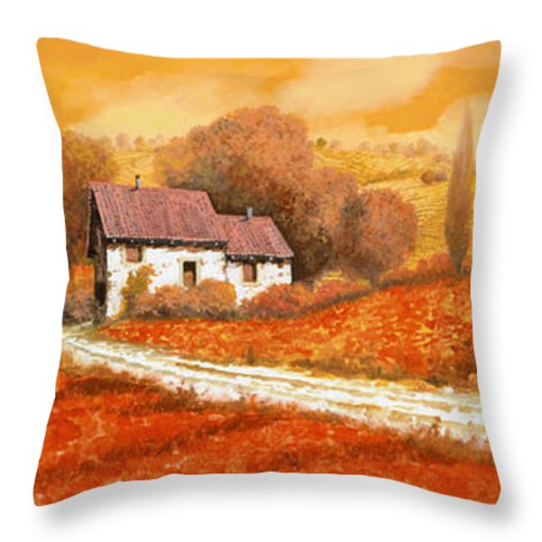 rosso papavero Throw Pillow by Guido Borelli