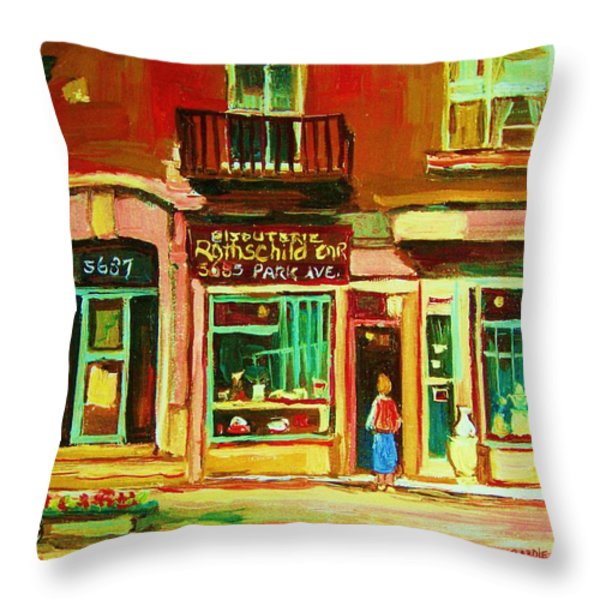 Rothchilds Jewellers On Park Avenue Throw Pillow by Carole Spandau