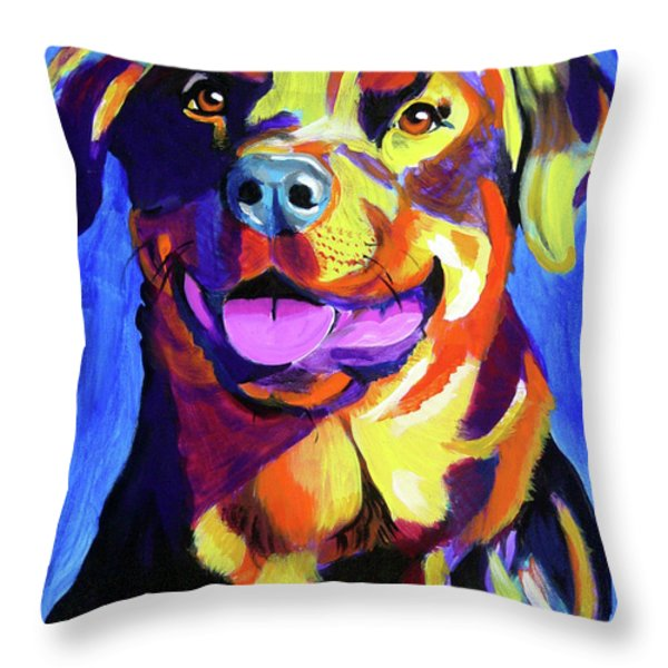 Rottweiler - Starr Throw Pillow by Alicia VanNoy Call