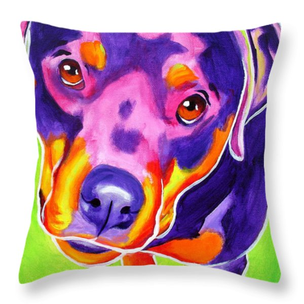 Rottweiler - Summer Puppy Love Throw Pillow by Alicia VanNoy Call