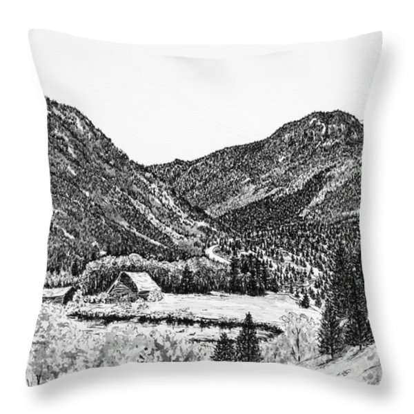 Round Mountain Throw Pillow by Judy Sprague
