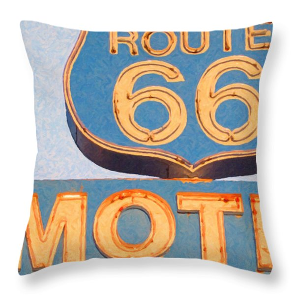 Route 66 Motel Seligman Arizona Throw Pillow by Wingsdomain Art and Photography