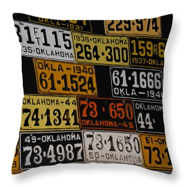 Route 66 Oklahoma Car Tags Throw Pillow by Susanne Van Hulst