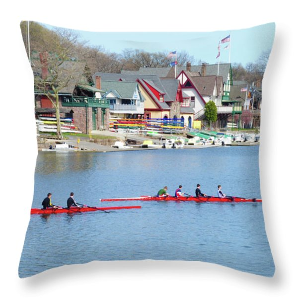 Rowing Along the Schuylkill River Throw Pillow by Bill Cannon