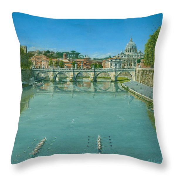 Rowing On The Tiber Rome Throw Pillow by Richard Harpum