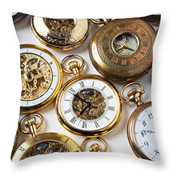 Rows Of Pocket Watches Throw Pillow by Garry Gay